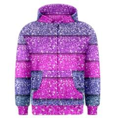 Violet Girly Glitter Pink Blue Men s Zipper Hoodie by Mariart
