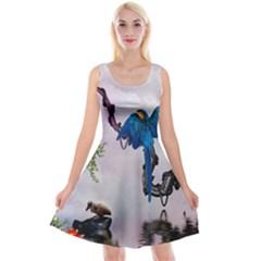 Wonderful Blue Parrot In A Fantasy World Reversible Velvet Sleeveless Dress by FantasyWorld7