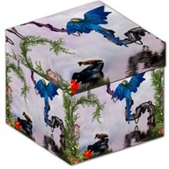 Wonderful Blue Parrot In A Fantasy World Storage Stool 12   by FantasyWorld7