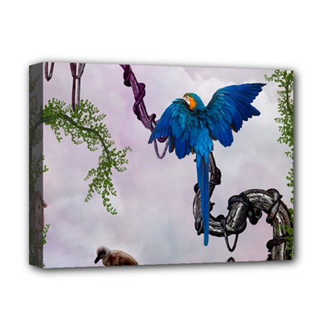 Wonderful Blue Parrot In A Fantasy World Deluxe Canvas 16  X 12   by FantasyWorld7