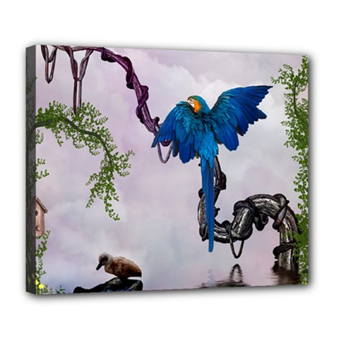 Wonderful Blue Parrot In A Fantasy World Deluxe Canvas 24  X 20   by FantasyWorld7