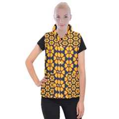 Yellow Flowers Pattern            Women s Button Up Puffer Vest