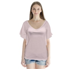 Solid Alice Pink in an English Country Garden Flutter Sleeve Top by PodArtist