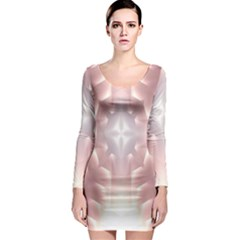 Neonite Abstract Pattern Neon Glow Background Long Sleeve Bodycon Dress