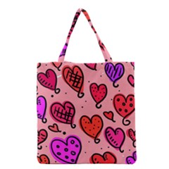 Valentine Wallpaper Whimsical Cartoon Pink Love Heart Wallpaper Design Grocery Tote Bag by Nexatart