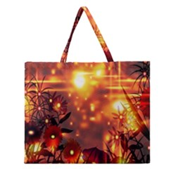 Summer Evening Zipper Large Tote Bag by Nexatart