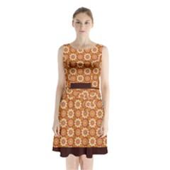 Floral Seamless Pattern Vector Sleeveless Chiffon Waist Tie Dress by Nexatart