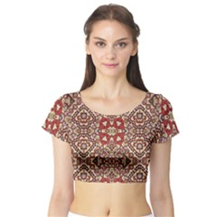 Seamless Pattern Based On Turkish Carpet Pattern Short Sleeve Crop Top (tight Fit) by Nexatart