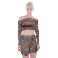 Armenian Carpet In Kaleidoscope Off Shoulder Top With Skirt Set by Nexatart