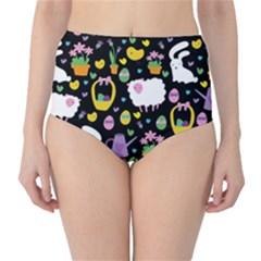 Cute Easter Pattern High Waist Bikini Bottoms by Valentinaart