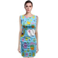 Cute Easter Pattern Sleeveless Velvet Midi Dress by Valentinaart
