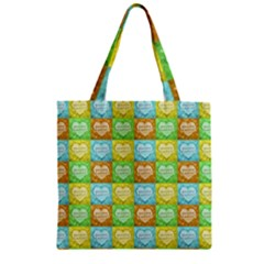 Colorful Happy Easter Theme Pattern Zipper Grocery Tote Bag by dflcprints