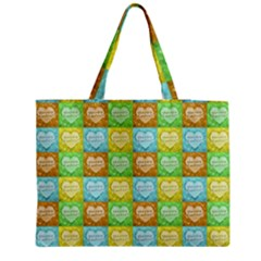 Colorful Happy Easter Theme Pattern Medium Tote Bag by dflcprints