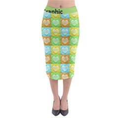 Colorful Happy Easter Theme Pattern Midi Pencil Skirt by dflcprintsclothing