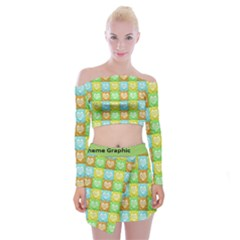 Colorful Happy Easter Theme Pattern Off Shoulder Top With Skirt Set by dflcprintsclothing