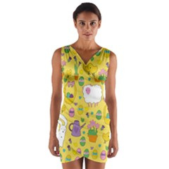 Cute Easter Pattern Wrap Front Bodycon Dress by Valentinaart