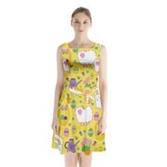 Cute Easter Pattern Sleeveless Chiffon Waist Tie Dress by Valentinaart