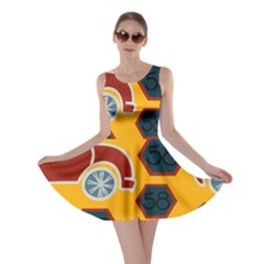 Husbands Cars Autos Pattern On A Yellow Background Skater Dress