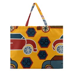 Husbands Cars Autos Pattern On A Yellow Background Zipper Large Tote Bag by Nexatart