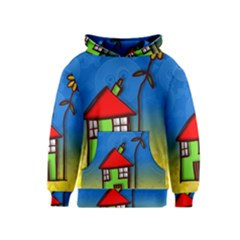 Colorful Illustration Of A Doodle House Kids  Pullover Hoodie by Nexatart
