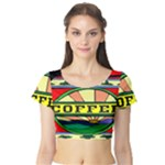 Coffee Tin A Classic Illustration Short Sleeve Crop Top (Tight Fit)
