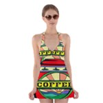 Coffee Tin A Classic Illustration Halter Swimsuit Dress