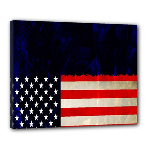 Grunge American Flag Background Canvas 20  X 16  by Nexatart