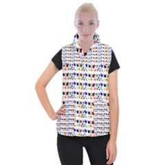 A Creative Colorful Background With Hearts Women s Button Up Puffer Vest by Nexatart