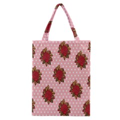 Pink Polka Dot Background With Red Roses Classic Tote Bag by Nexatart
