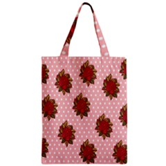 Pink Polka Dot Background With Red Roses Zipper Classic Tote Bag