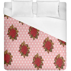 Pink Polka Dot Background With Red Roses Duvet Cover (king Size) by Nexatart