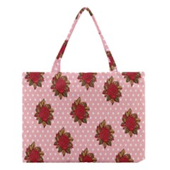Pink Polka Dot Background With Red Roses Medium Tote Bag by Nexatart