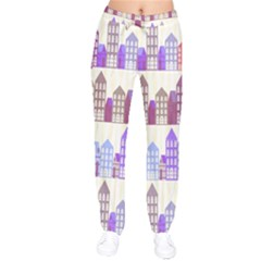 Houses City Pattern Drawstring Pants by Nexatart