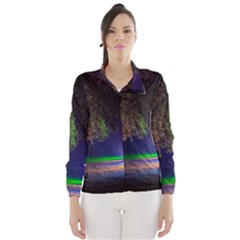 Illuminated Trees At Night Wind Breaker (women)