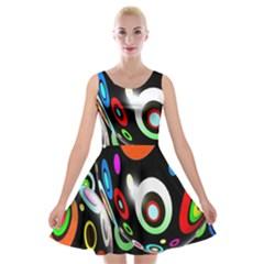 Background Balls Circles Velvet Skater Dress by Nexatart