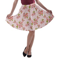 Beautiful hand drawn flowers pattern A-line Skater Skirt by TastefulDesigns