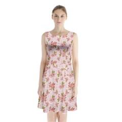 Beautiful Hand Drawn Flowers Pattern Sleeveless Chiffon Waist Tie Dress by TastefulDesigns