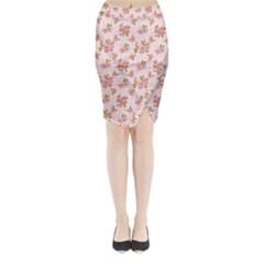 Beautiful Hand Drawn Flowers Pattern Midi Wrap Pencil Skirt by TastefulDesigns