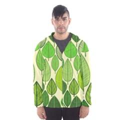 Leaves Pattern Design Hooded Wind Breaker (men) by TastefulDesigns