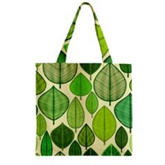 Leaves Pattern Design Zipper Grocery Tote Bag by TastefulDesigns
