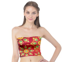 Red And Orange Floral Geometric Pattern Tube Top by LovelyDesigns4U