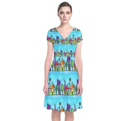 Colourful Street A Completely Seamless Tile Able Design Short Sleeve Front Wrap Dress