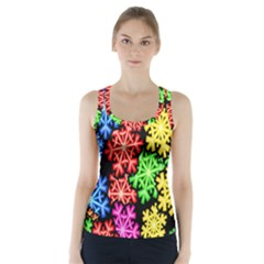 Colourful Snowflake Wallpaper Pattern Racer Back Sports Top by Nexatart