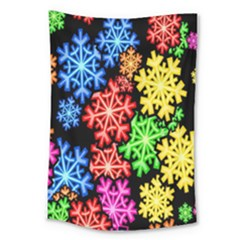 Colourful Snowflake Wallpaper Pattern Large Tapestry by Nexatart