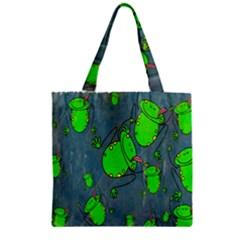 Cartoon Grunge Frog Wallpaper Background Zipper Grocery Tote Bag by Nexatart