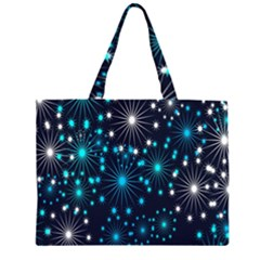 Digitally Created Snowflake Pattern Background Zipper Large Tote Bag by Nexatart