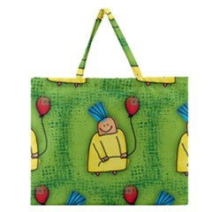 Party Kid A Completely Seamless Tile Able Design Zipper Large Tote Bag by Nexatart