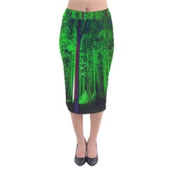 Spooky Forest With Illuminated Trees Velvet Midi Pencil Skirt by Nexatart