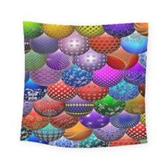 Fun Balls Pattern Colorful And Ornamental Balls Pattern Background Square Tapestry (Small) by Nexatart