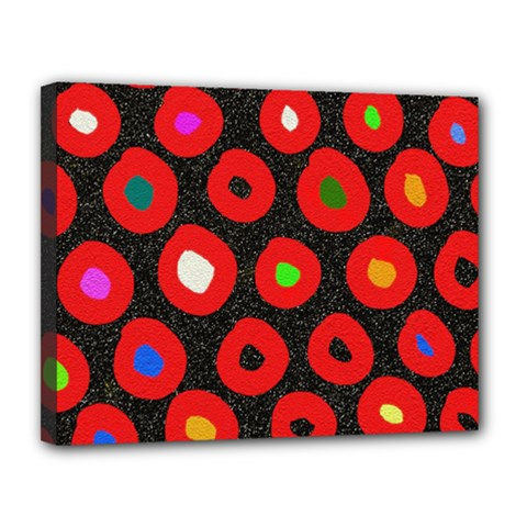 Polka Dot Texture Digitally Created Abstract Polka Dot Design Canvas 14  X 11  by Nexatart